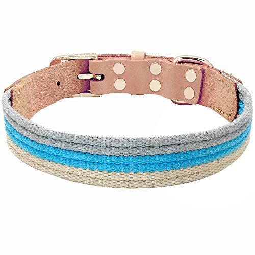 WWHPVP Collares de Perro de Cuero Genuino, cinturón de Tela de poliéster Collar de Mascotas para pequeños Perros Grandes Grandes Pitbull Bulldog francés Producto Mascota,Blau,34~41cm