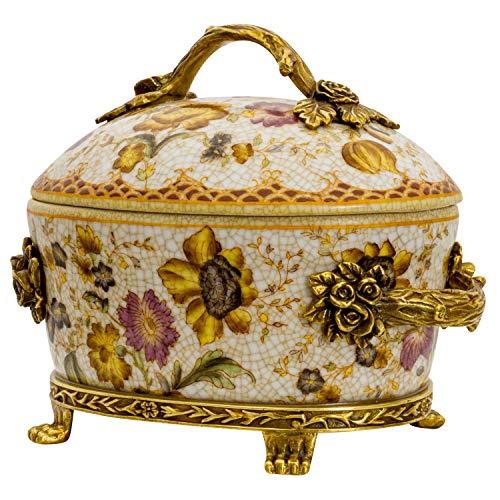 aubaho Boîte Fleur Porcelaine Laiton Style Antique 19cm