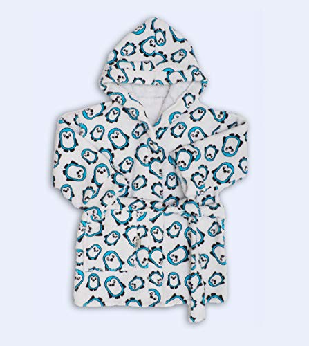 Ti TIN - frottee Kinderbademantel | Bademantel für Kinder von 5 bis 6 Jahren, aus 100% Baumwolle, mit Pinguin Motiv, blau