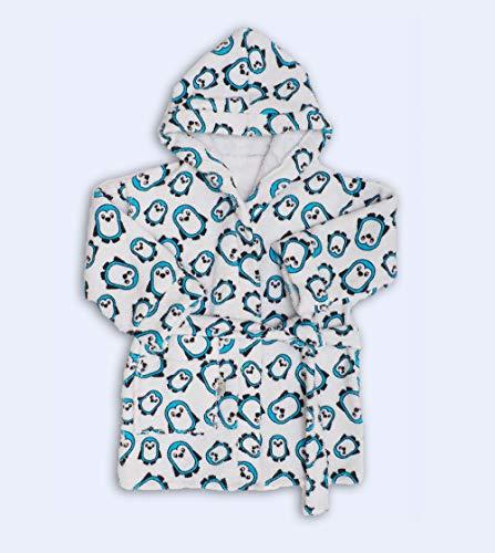 Ti-tin Baby badjas met PENGUINS print - 100% katoenen badstof vervaardigd in Spanje voor kinderen van 1-2 jaar. Pinguïns blauw