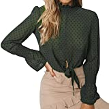 Blouse for Women Long Sleeve Kimloog Women Chiffon Floral Flare Sleeve Short Bow Shirt Dot Top Blouse Crop GN/2XL [video game] [video game]