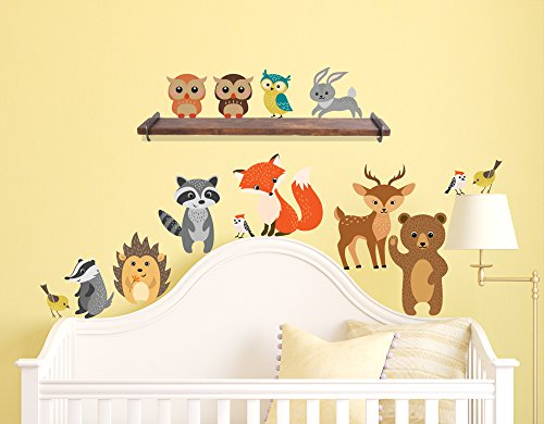 Innovative Stencils Forest Animals Wall Decals Peel and Stick Bear, Fox, Owl, Bunny, Racoon Birds Fabric Rusable Stickers Nursery Decor, Perfect Addition to Large Tree Decals, 14 Creature Included
