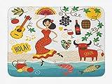 Alfombra de baño de España, diseño de elementos nacionales, guitarra de toro y bailarina de flamenco, composición de estilo de dibujos animados, alfombra de decoración de baño de felpa con respaldo an