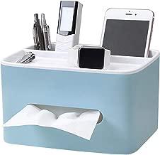 AIWANTO Multifunction Plastic Tissue Box Holder Storage Organizer Desktop Tissue Box Drawer Storage Desk Storage Organizer Box Container for Home Kitchen Office (Blue)