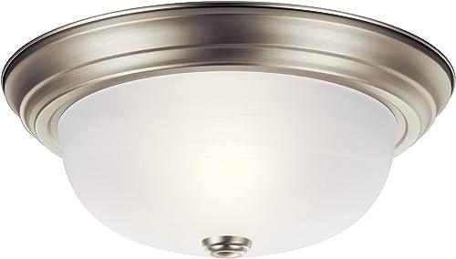 "lowest Kichler 8109NI, Ceiling Glass Flush Mount Ceiling Light, 2 outlet online sale Light, 120 Watts, Brushed outlet online sale Nickel,13.25"" Wide sale"