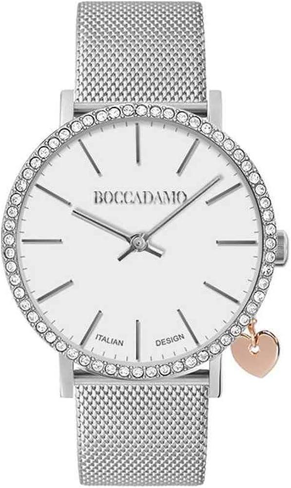 Boccadamo mya 33 casual ,orologio per donna,lunetta in cristalli swarovski, charm laterale a forma di cuore Mx004