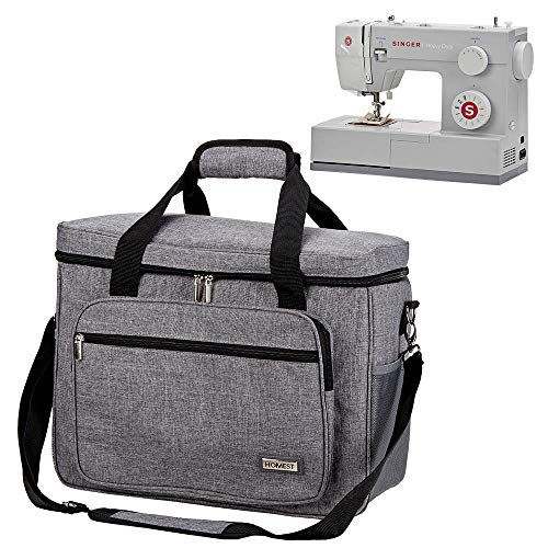 HOMEST Universal Sewing Machine Case with Multiple Pockets for Sewing Notions, Tote Bag Compatible with Singer Quantum Stylist 9960, Singer Heavy Duty 4423, Grey -  TRGA0502