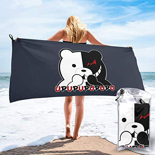 Toalla de playa de secado rápido para mujer, Danganronpa Monokuma Game Animal Bear Comfort Gym Towe Pool Toallas ligeras de secado rápido para yoga, picnic, golf, 31.5 x 63 pulgadas