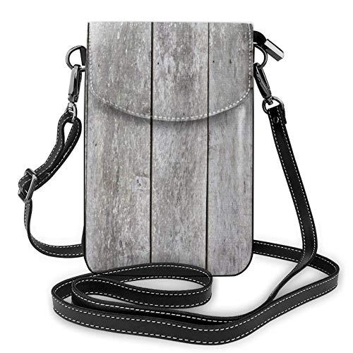 Crossbody - Bolso para teléfono celular, diseño vintage, color gris