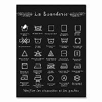 FUJIAJIA ウォールアート画像フレンチランドリーシンボルサインプリント白黒Affichebuanderieキャンバス絵画ランドリールームの装飾/40X60Cmフレームなし