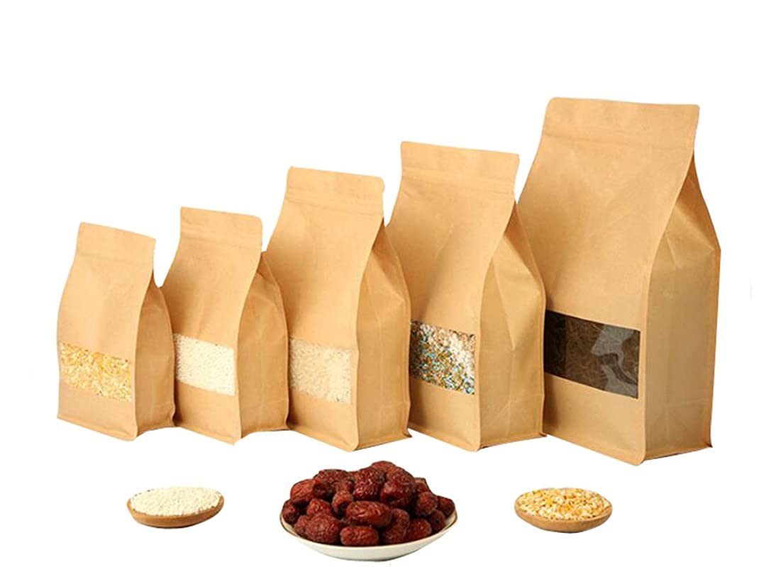 12PCS 5.5x8.7x2.7'' Reusable Self Sealing Kraft Paper Ziplock Seal Bags Stand Up Food Bag Pouch with Notch and Matte Window for Coffee Bean Tea Leaf and Snacks And other Food Storage (14x22x7cm) pdki485565048735