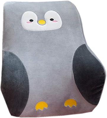 Memory Foam Car Chair Lumbar Back Cushion Creative Office Waist Pillow Lumbar Support Pillow (Gray Penguin, 43×38cm)