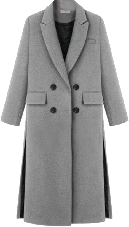TymhgtCA Womens Casual DoubleBreasted Long Wool Coat Overcoat Outwear