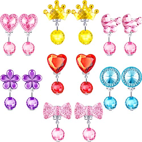 Hicarer 7 Pairs Crystal Clip on Earrings Girls Princess Play Jewelry Earring and 7 Pairs Earrings Pads in Pink Box