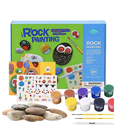 Rock Painting Kit - Non Toxic, Eco-Friendly Rocks for Painting, Activities Kits for Kids, DIY Arts & Crafts Rock Painting kit for Adults - Best Kids Painting Supplies, Watercolor Paint