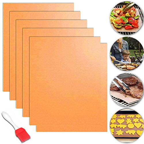 Copper Grill Mat, 6 Pack Heavy Duty Magic BBQ Grill Mats Non Stick, Reusable, Easy to Clean Barbecue Grilling Accessories for Gas, Electric, and Charcoal Grilling, FDA-Certificated