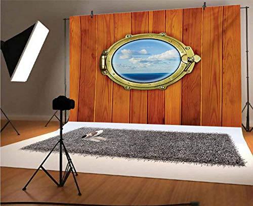 Fondos náuticos de vinilo para fotos de 8 x 6 pies, fondo de madera de buey para ventana de barco de vela viejo fondo para selfies, fotos de fiesta de cumpleaños