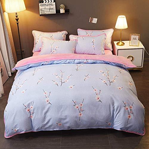 fleece beddengoed set, Dikke Warm Koraal Fleece Jacquard Bed Cover Bed Rok Drie/Vier Sets, Fleece Dekbedovertrek Set Tweepersoons, Kingsize BeddengoedSet@D_1.5m bed (3 stuks)