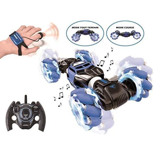 Extreme Crosslander luminoso coche de control remoto todo terreno, control remoto, pulsera de control gestual, recargable, juego de acción electrónico, azul / negro, RC50