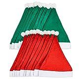 20 Gorros de Papá Noel para Adultos (Rojo y Verde)| Tela No Tejida, Reutilizable, Ecológ...