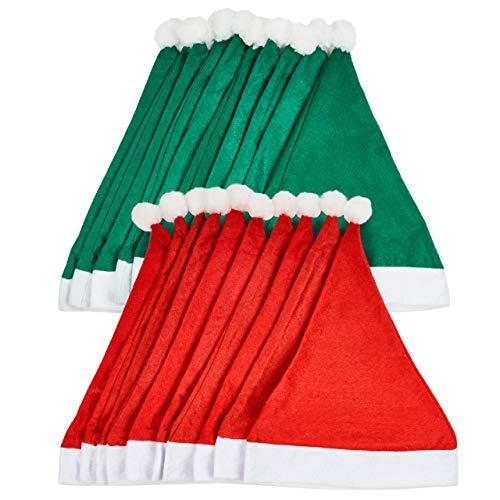 20 Gorros de Pap Noel para Adultos (Rojo y Verde)| Tela No Tejida, Reutilizable, Ecolgica| Gorro de Santa Claus, Disfraz de Navidad Clsico para Fiestas.