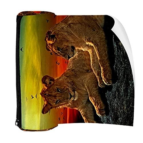 Estuche de lápices hermosos leones puesta del sol paisaje bolsa pluma cremallera bolsa para papelería viaje escuela estudiante suministros