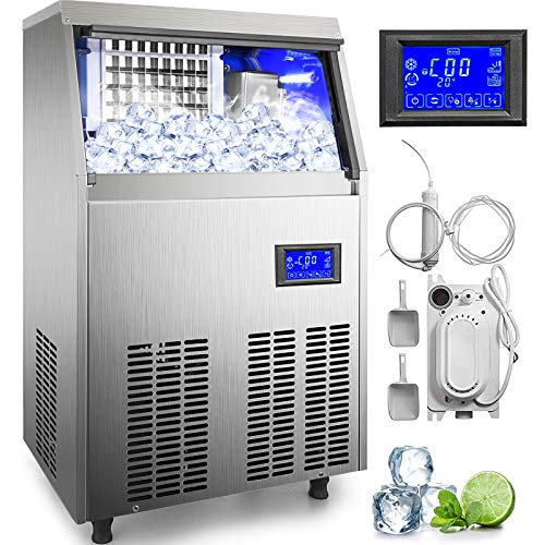 VEVOR 110V Commercial ice Maker 80-90LBS/24H with 33LBS Bin and Electric Water Drain Pump, Clear Cube, Stainless Steel Construction, Auto Operation, Include Water Filter 2 Scoops and Connection Hose