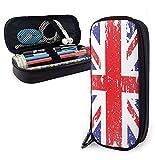 Estuche para lápices de cuero con bandera británica en mal estado de estilo retro, gran capacidad, duradero, con cremallera, estuche para bolígrafos, estuche para lápices, estuche de cosméticos