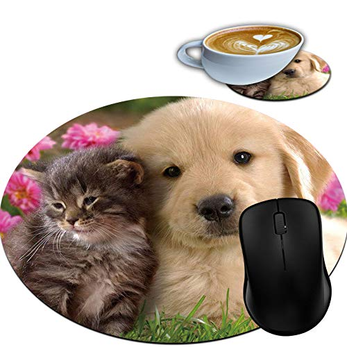 Gaming Mouse Pad, Round Mouse Mat, Non-Slip Rubber Base Desktop Mousepad and Coaster Set, Small Size 7.9 x 7.9 x 0.1 Inch- Sweet Dog and Cat in The Garden
