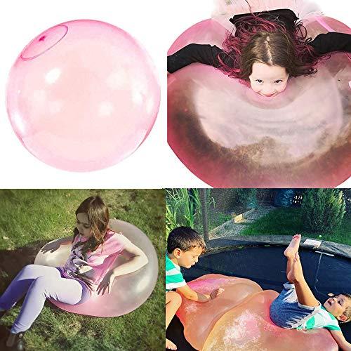NoNo Bubble Ball Großes Bubble Ball Spielzeug, Aufblasbarer Wasserball Transparente Weichgummiball, Bounce Balloon Air Stofftier zum Kinder Erwachsene Sommer Strand Garten Party im Freien-Rosa