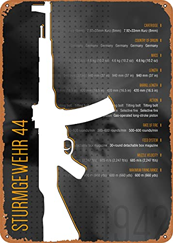 CharcasUS STG 44 Metal Tin Sign Wall Decor Man Cave Military Fan Gift Home Bar Pub Decorative Military Posters 12x8 Inch