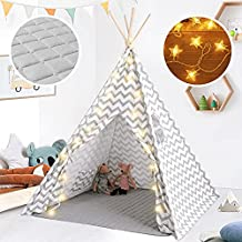 Tiny Land Teepee Tent for Kids with Padded Mat & Star Lights, Kids Teepee Play Tent, Large Kids Teepee Tent, Kids Tent, Kids Playhouse, Bed Tent for Kids, Indoor & Outdoor Toddler Tent for Boy & Girls
