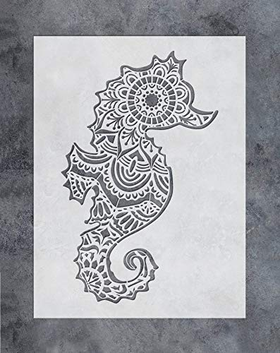 GSS Designs Seahorse Wall Decor Stencil - Mandala Sea Horse Stencil (12x16 Inch) for Painting & Craft - Wall Furniture Floor Fabric Wood Stencils -Reusable Template for Wall Decals(SL-027)
