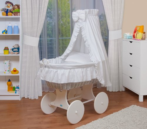 WALDIN Cuna Moisés, carretilla portabebés XXL, 24 modelos a elegir,Madera/ruedas lacado en blanco,color textil blanco
