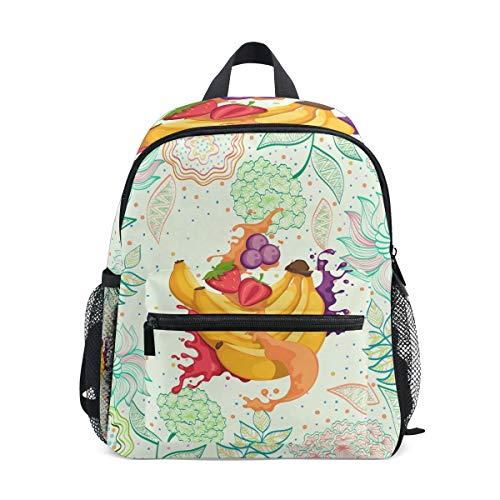 Blumenfrucht-Bananensaft Kleinkind Rucksack Kinder Leichtgewicht Büchertasche Vorschule Schülerrucksack für 2-7 Jahre die Reise Mädchen Jungs