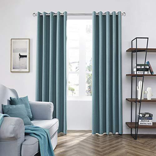 Coastline Luna brushed blackout eyelet curtains Duckegg Teal thermal insulated window treatment 2 panels blinds floor curtains for bedroom,Livingroom,Kids nursery room Width 66' x Drop 90'