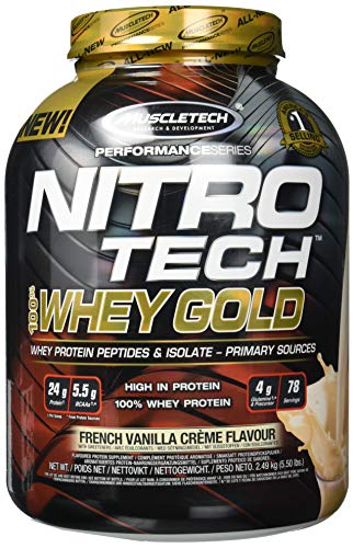 MuscleTech NitroTech Whey Gold, 100{04431c2ef596a8afbb56ff5500c8ce708905c06ae9a0e2d1fd0c2eb223a5ec17} reines Whey Protein, Whey Isolate und Peptide, Vanille, 2510 g