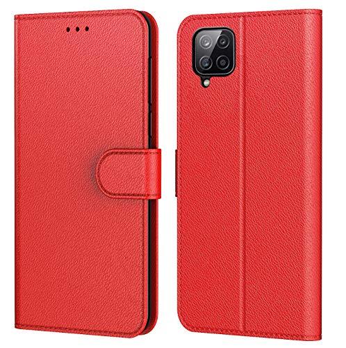 AURSTORE Handyhülle Kompatibel Mit Samsung Galaxy A12 Hülle, Samsung M12 Hülle, Premium PU Leder Schutzhülle Abdeckung, Magnetverschluss,Tasche Flip Hülle Brieftasche Etui Book (Rot`)