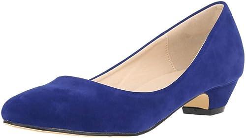 VIVIOO Pompe à Bout Rond pour Femmes 3 cm Talon Stable Chaussures à Talons épais épais pour Office Lady Femmes 35-42