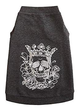 Kotomoda sphynx T-shirt pour chat brodé ARGENT Couronne Scull # 3 (S)