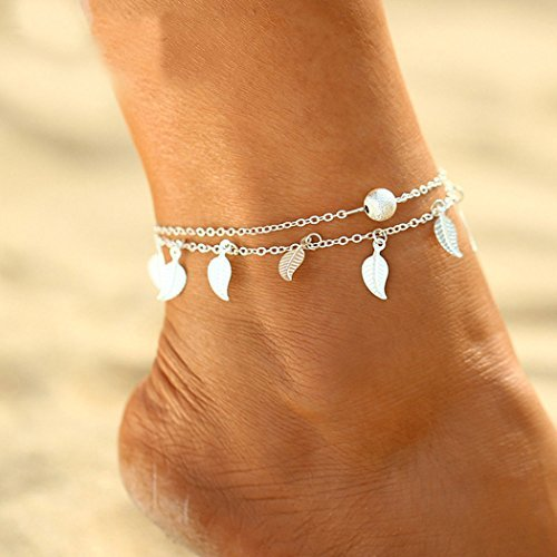 simsly Beach Tassel Anklet Leaf Ankle Bracelet Double Foot Jewelry Adjustable for Women and Girls (Silver)