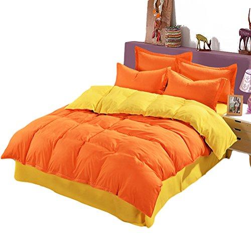VOSAREA Funda nórdica Bed Funda Suave y Transpirable para Adultos Adolescentes 150 x 200 cm (Naranja Brillante y Amarillo)
