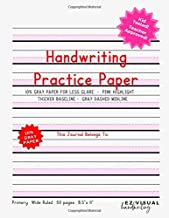 Handwriting Practice Paper: Pink Highlight + Gray Paper Composition Journal Improves Handwriting For Kids | Visual Handwriting With Visual Cues Grades ... -Wide Ruled Full Page (Handwriting Help)
