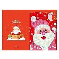 メッセージカード メリークリスマスカードDIY絵画手作りカード、ラウンドドリルグリーティングカード 子供 誕生日 新年 (Size:260 X 180mm; Color:#6)