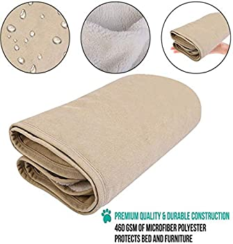 GZGZADMC Couverture imperméable pour chien, couverture imperméable pour animal domestique, couverture anti-urine pour canapé, lit, housse de protection réversible en microfibre – 150 x 120 cm, beige