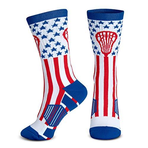 Chalk talk sports Athletic Half Cushioned Crew Socks, Mid Calf, American Lax Socks, Red/White/Blue one size