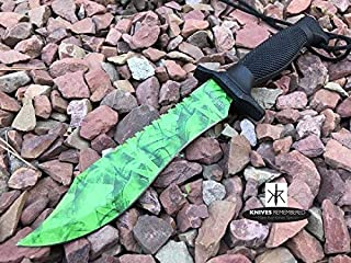 Monogram Knife, Custom Knife, Hunting Bowie, Military Tactical, Personalized Knife, Engraved Knife, CSGO Razor Fixed Blade Jungle Knife (Green)