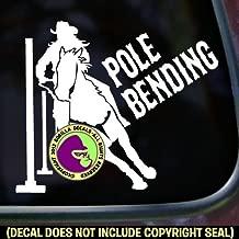 Pole Bending Barrel Racing Gaming Horse Rider Vinyl Decal Rodeo Bumper Sticker Laptop Window Car Trailer Sign White