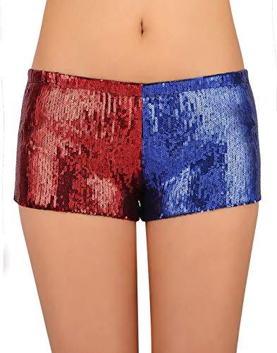 HDE Damen Rot und Blau Metallic Pailletten Booty Shorts für Harley Misfit Halloween Kostüm - - Klein