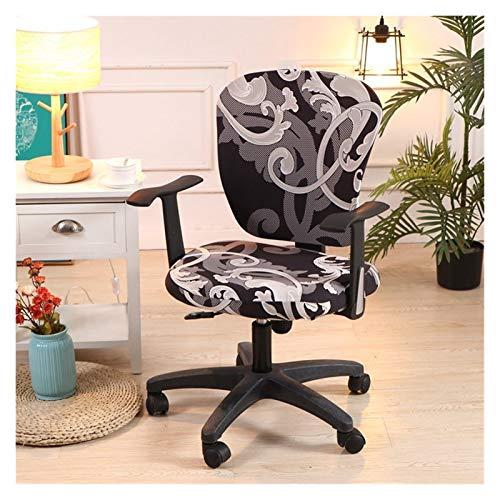 WQAZ Stuhlbezug Computerstuhlabdeckung Spandex-Gedruckter Bürostuhl-Abdeckung 2 Stück für den Stuhl zurück und die Basis Polyestermaterial (Color : Soot, Specification : Universal Size)